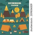 summer camp card design. vector ...   Shutterstock .eps vector #209836009