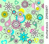 Doodle daisy seamless background - stock vector