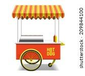 hot dog  street cart. vector. | Shutterstock .eps vector #209844100