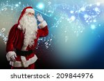 santa claus enjoying sound of... | Shutterstock . vector #209844976