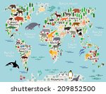 animal map of the world for... | Shutterstock . vector #209852500