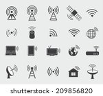 black wireless icons. set ... | Shutterstock .eps vector #209856820
