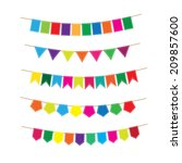 colorful bunting and garland... | Shutterstock .eps vector #209857600