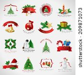 christmas icons set   isolated... | Shutterstock .eps vector #209871073