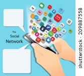 hand holding the smartphone... | Shutterstock .eps vector #209887558