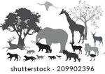 Stock vector african savannah and differnt animals silhouettes 209902396