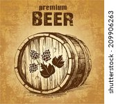 Beer Keg With Hop For Label ...