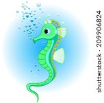Illustrations Of Cute Seahorse...