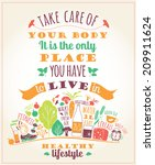 healthy lifestyle poster  | Shutterstock .eps vector #209911624
