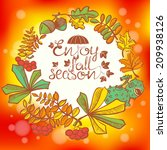 fall season wreath with leaves | Shutterstock .eps vector #209938126
