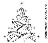 Stock vector horse lovers christmas tree sport horses 209950570