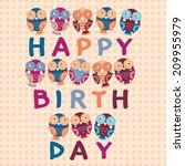 happy birthday card  cute owls.... | Shutterstock . vector #209955979