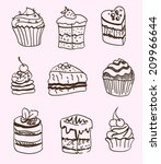 set of vector sketches cake and ... | Shutterstock .eps vector #209966644