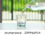 pouring water on glass  | Shutterstock . vector #209966914