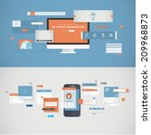 set of flat design concepts for ...