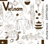 Fun sketch Vietnam seamless pattern