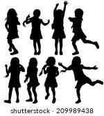 girls silhouettes | Shutterstock .eps vector #209989438