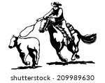 calf roping clipart | Shutterstock .eps vector #209989630