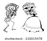 dancing skeletons. vector... | Shutterstock .eps vector #210015478