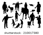 Stock vector people and animals silhouettes set 210017380