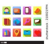 set of 12 vector social media...