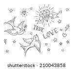 old school tattoo elements set   Shutterstock .eps vector #210043858