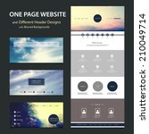 One Page Website Template and Different Header Designs with Blurred Backgrounds | Shutterstock vector #210049714