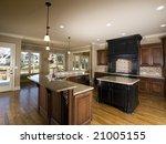luxury center island kitchen...   Shutterstock . vector #21005155