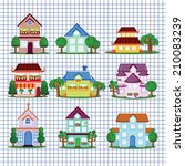 vector house icons  | Shutterstock .eps vector #210083239