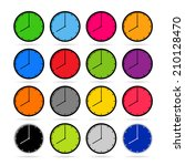 clock icons in colorful set | Shutterstock .eps vector #210128470