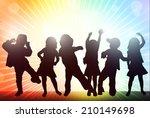 happy children silhouettes | Shutterstock .eps vector #210149698