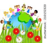 children stand circumplanetary...   Shutterstock .eps vector #210152320
