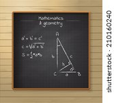 school black chalkboard on the... | Shutterstock .eps vector #210160240