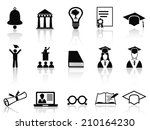 black college icons set | Shutterstock .eps vector #210164230