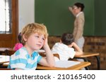 cute pupil not paying attention ... | Shutterstock . vector #210165400