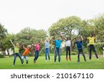 cute pupils jumping on the... | Shutterstock . vector #210167110
