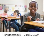 disabled pupil smiling at... | Shutterstock . vector #210172624