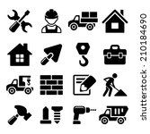 construction icons set on white ... | Shutterstock .eps vector #210184690