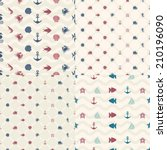 set of seamless pattern  of... | Shutterstock .eps vector #210196090