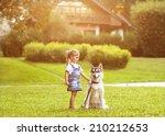 little girl in the park their... | Shutterstock . vector #210212653