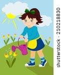 cute girl watering yellow... | Shutterstock . vector #210218830