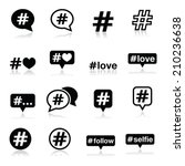 hashtag  social media icons set  | Shutterstock .eps vector #210236638