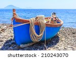 Boat  With Hanging Rope  Docke...