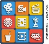 set of 9 cinema web and mobile... | Shutterstock . vector #210252928