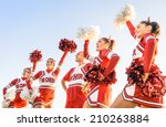 Group of cheerleaders in action ...