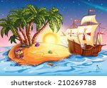 illustration of treasure island ... | Shutterstock .eps vector #210269788