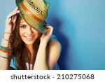 woman with toothy smile... | Shutterstock . vector #210275068
