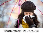 woman with cold or flu coughing ... | Shutterstock . vector #210276313
