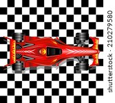 Red Race Car On Checkered...