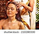 young woman having head... | Shutterstock . vector #210280330